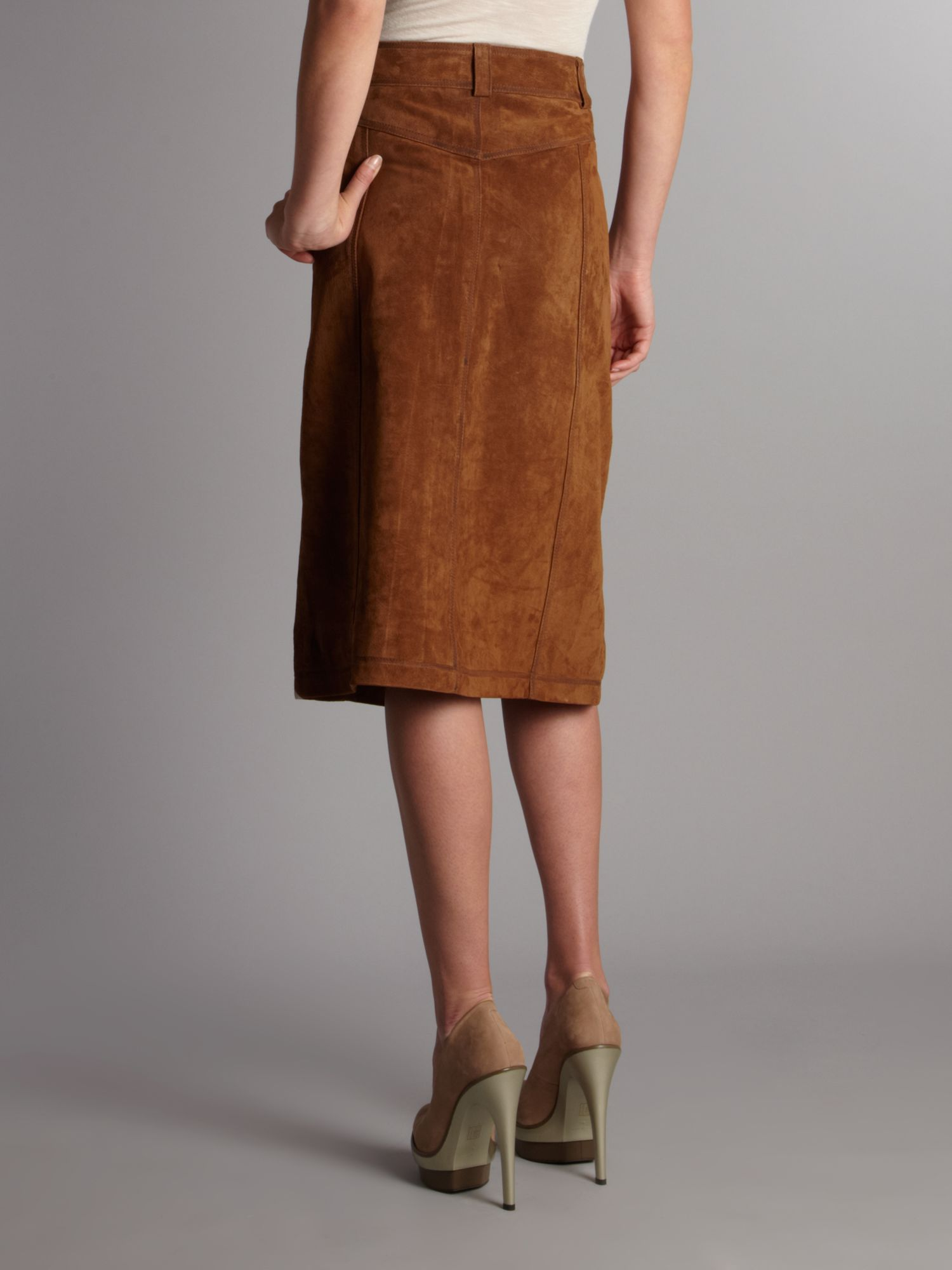 Linea weekend Suede Midi Skirt in Brown | Lyst