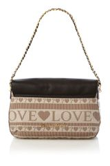 Love Moschino Love Jacquard Medium Flap Over Shoulder Bag in Black - Lyst