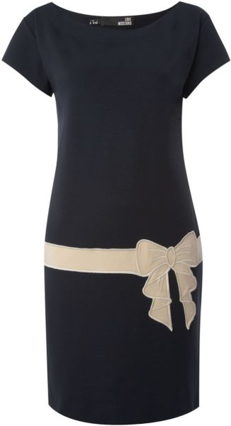 Love Moschino Drop Waist Contrast Bow Dress in Blue (navy) - Lyst