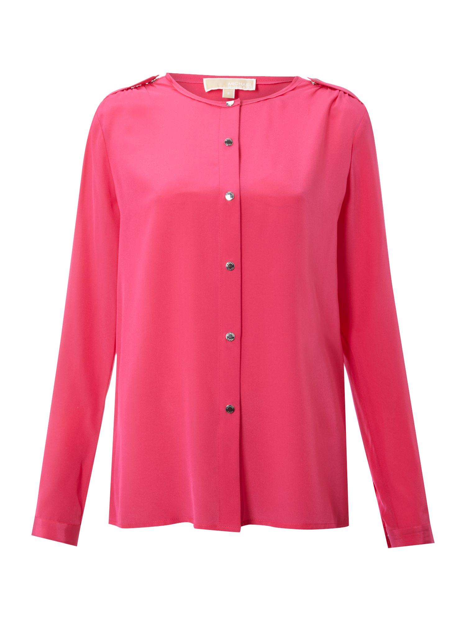 Michael michael kors long sleeve silk shirt in pink lyst for Silk long sleeve shirt