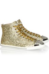 Miu Miu Glittered Leather Hightop Sneakers in Gold - Lyst