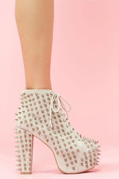 Nasty Gal Lita Spike Platform Boot Bone Suede in White (bone) - Lyst