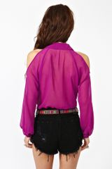 Nasty Gal Cutout Chiffon Blouse in Purple (fuchsia) - Lyst