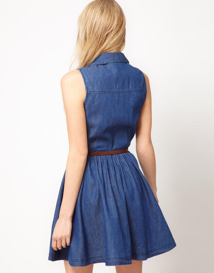 oasis oasis belted denim shirt dress in blue lyst