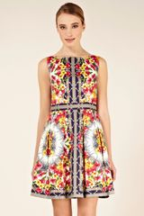 Oasis Oasis Scarf Print Full Skirted Dress in Multicolor (multi-coloured) - Lyst