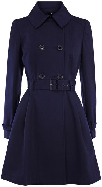 Oasis Annie Skirted Mac in Blue (navy) - Lyst