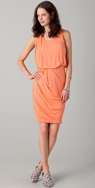 Obakki Helena Sleeveless Draped Dress in Orange - Lyst