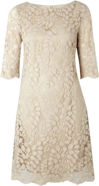Pied A Terre Lace Shift Dress in Beige (nude) - Lyst
