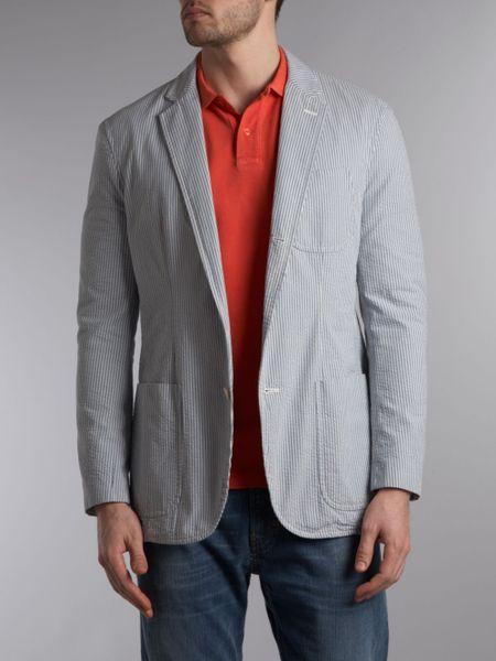 Polo Ralph Lauren Seersucker Blazer In Blue For Men Lyst