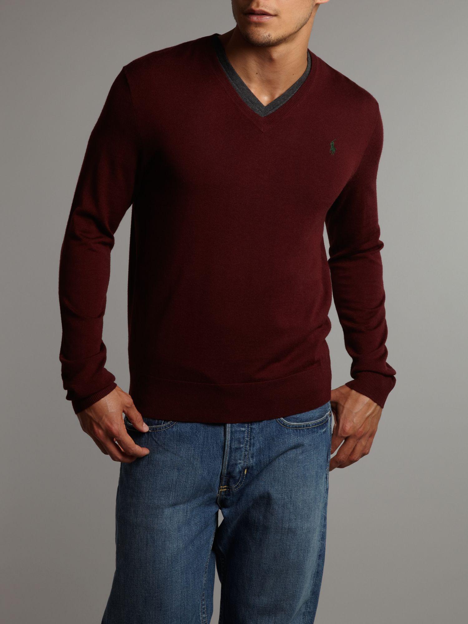 polo ralph lauren slim fit merino vneck jumper in red for. Black Bedroom Furniture Sets. Home Design Ideas