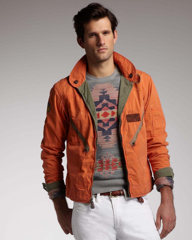 polo ralph lauren reversible flight jacket in orange for. Black Bedroom Furniture Sets. Home Design Ideas