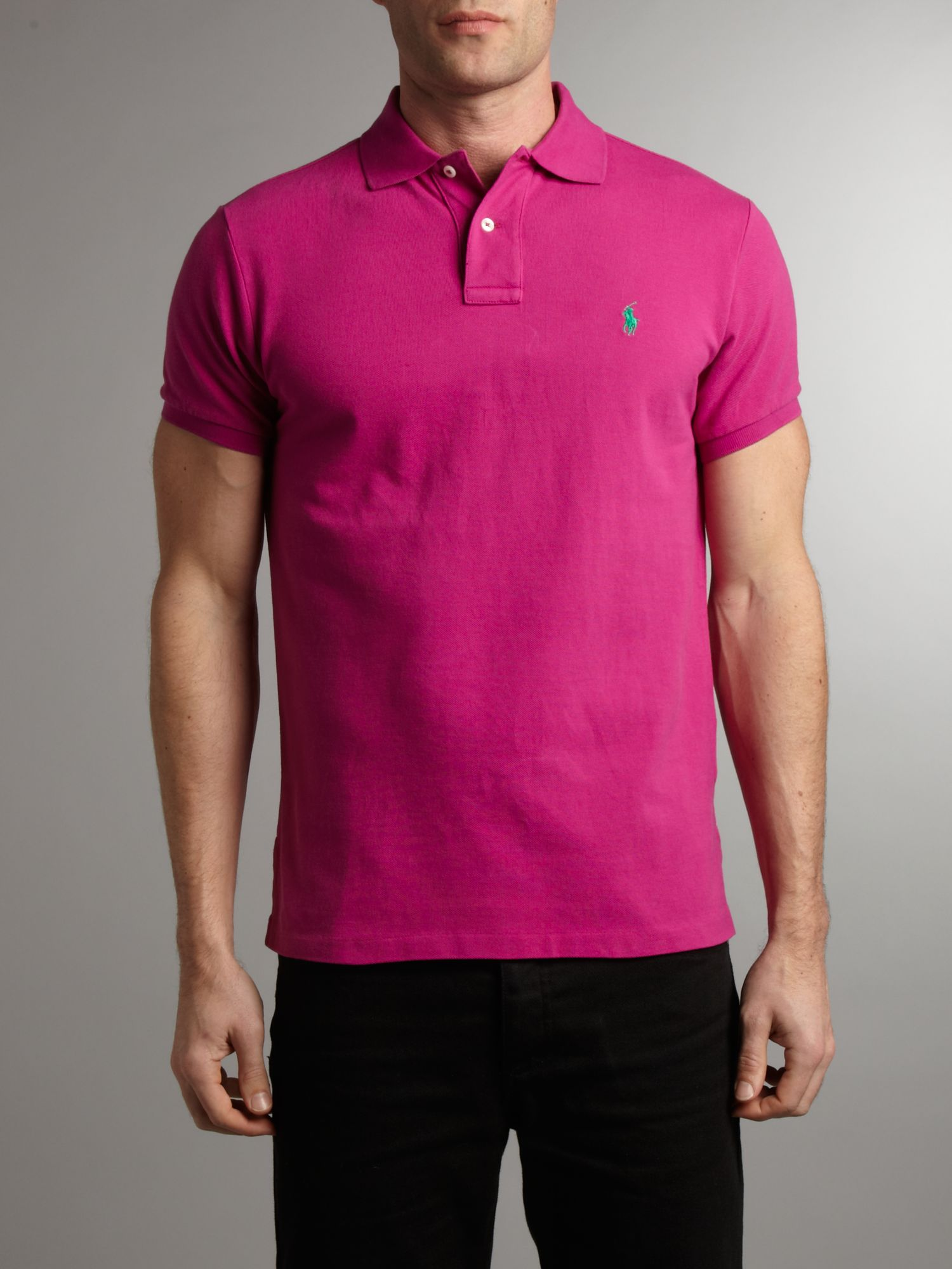 Polo Ralph Lauren Custom Fit Polo Shirt In Pink For Men Lyst