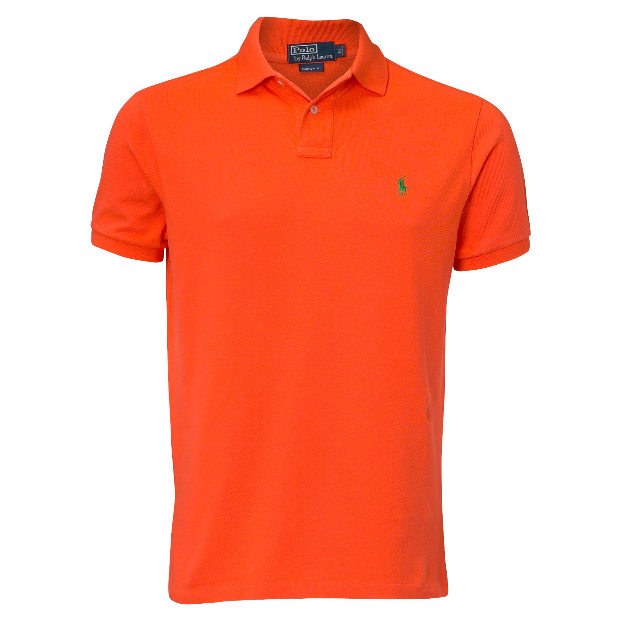 Polo ralph lauren custom fit mesh polo shirt in orange for for Custom design polo shirts