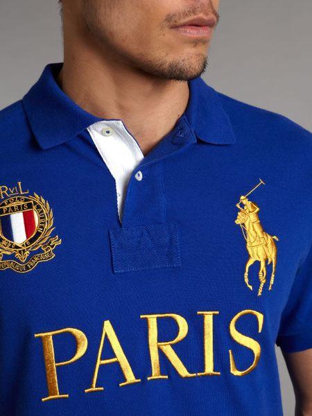 polo ralph lauren paris polo shirt in blue for men royal blue lyst. Black Bedroom Furniture Sets. Home Design Ideas