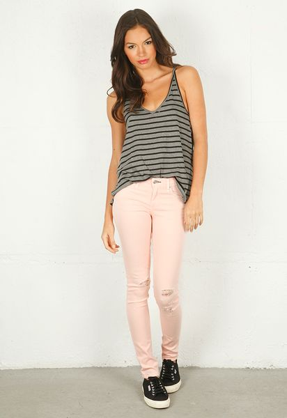 Rag & Bone Rag Bonejean Skinny Jean with Holes in Pink (bone) - Lyst