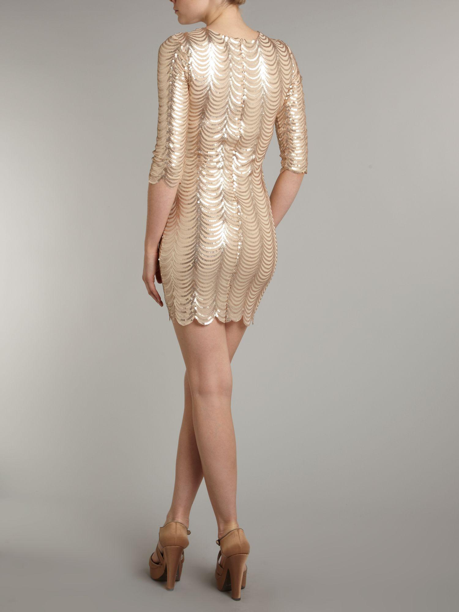Tfnc london Scalloped Sequin Dress in Metallic  Lyst