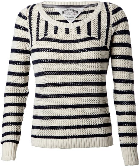 Tommy Hilfiger Nina Long Sleeved Stripe Sweater in Beige (cream) - Lyst