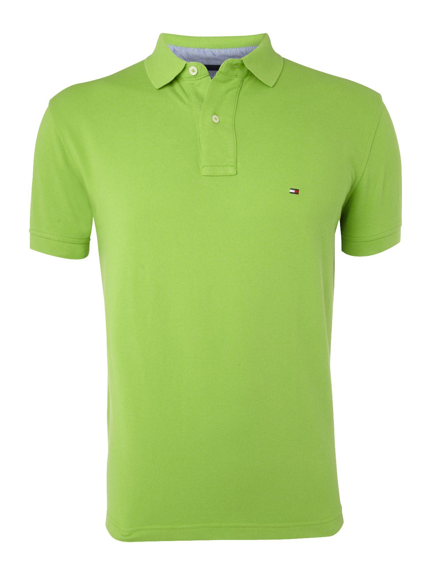 tommy hilfiger shortsleeve polo shirt in green for men lyst. Black Bedroom Furniture Sets. Home Design Ideas