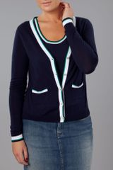 Tommy Hilfiger Waverly Tipping Cardigan in Blue (navy) - Lyst