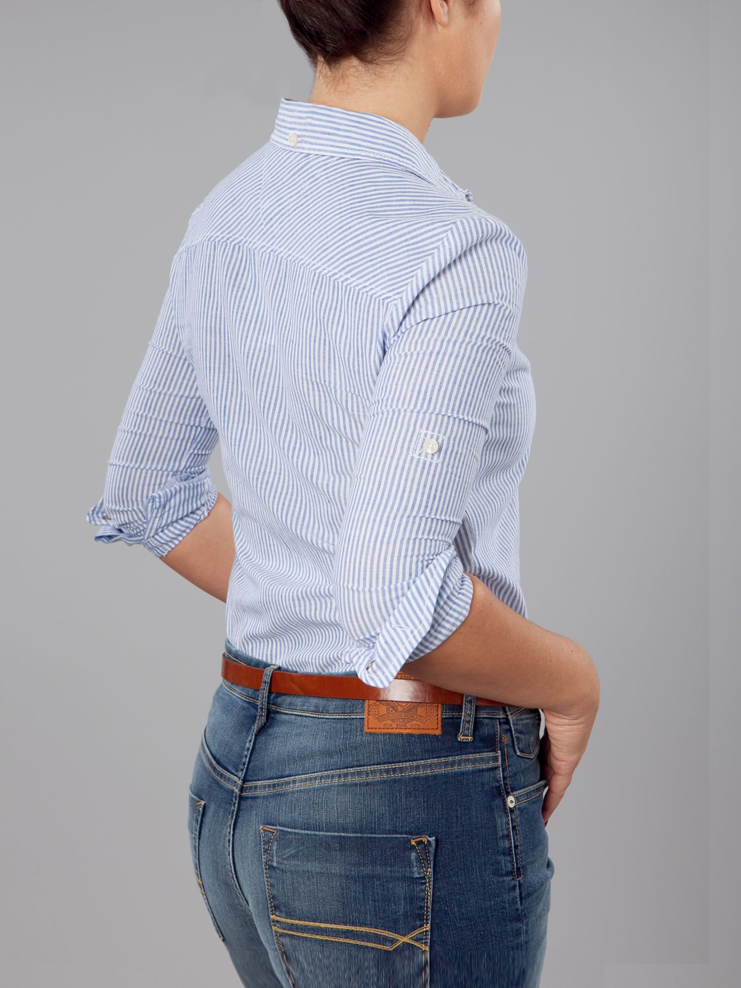 Lyst tommy hilfiger holly long sleeved fine stripe shirt for Tommy hilfiger fitzgerald striped shirt