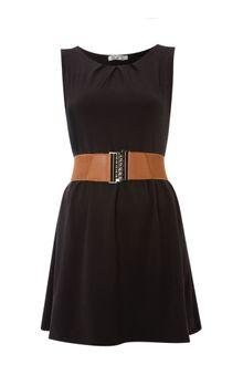 Wal-g Belted Pleat Neck Dress - Lyst