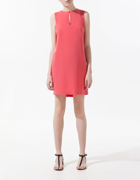 Zara Dress with Fringes On Back in Pink (coral) - Lyst