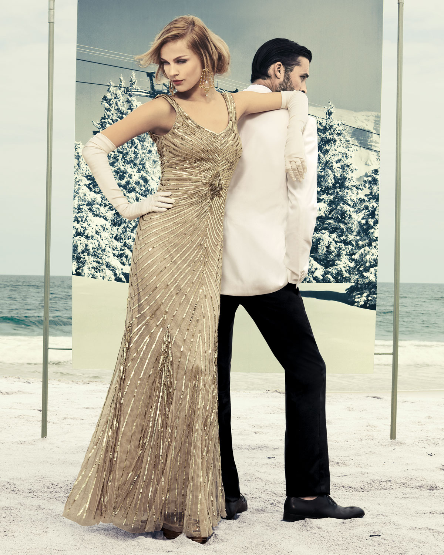 Lyst - Aidan Mattox Chevron Sequin Gown in Metallic