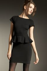 Alice + Olivia Victoria Knit Peplum Dress in Black - Lyst