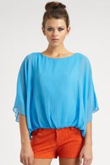 Alice + Olivia Katie Dolman Silk Top in Blue - Lyst