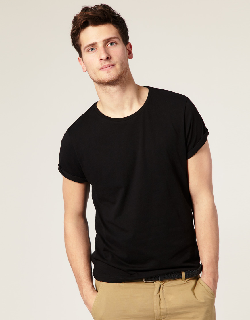 Asos crew neck tshirt with roll up sleeves in black for for How to roll up sleeves on women s dress shirt