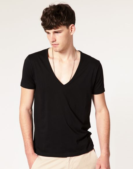 asos t shirt with deep v neck in black for men lyst