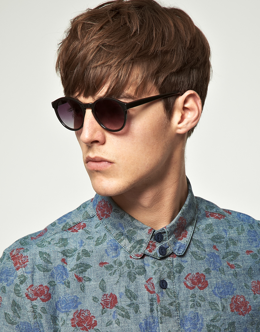 Keyhole Sunglasses  asos asos black keyhole round lens sunglasses in black for men lyst
