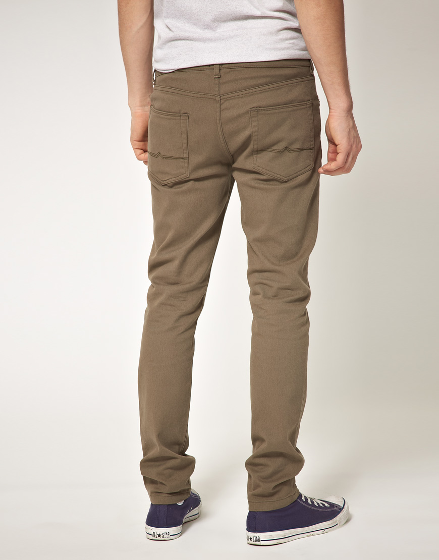 Asos Khaki Skinny Jeans in Brown for Men