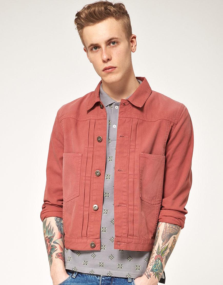 Asos Coloured Denim Jacket in Pink for Men | Lyst