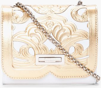 Balmain Gold Tone Ultimate Embossed Shoulder Bag - Lyst