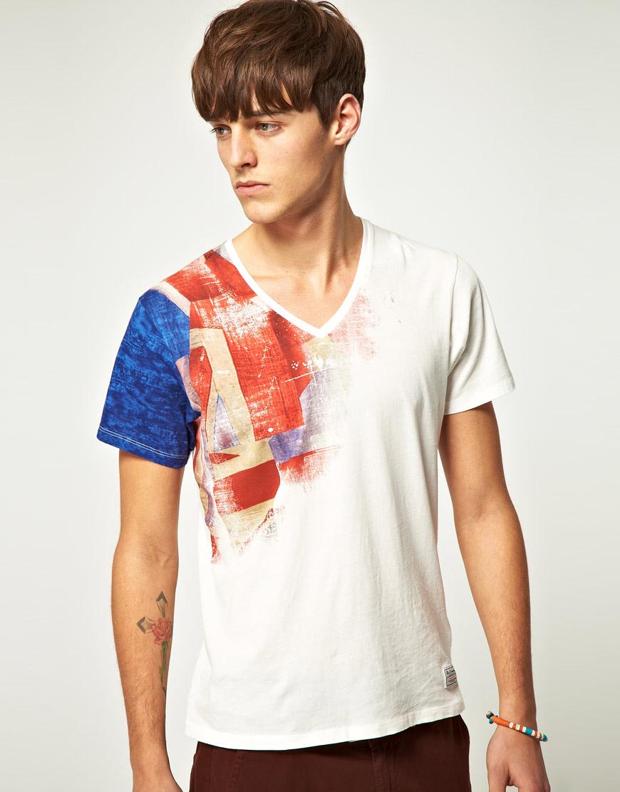 Ben sherman ben sherman vneck union jack shoulder print for Starch on dress shirts