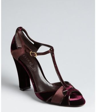 Celine Plum Velvet and Satin Tstrap Sandals - Lyst