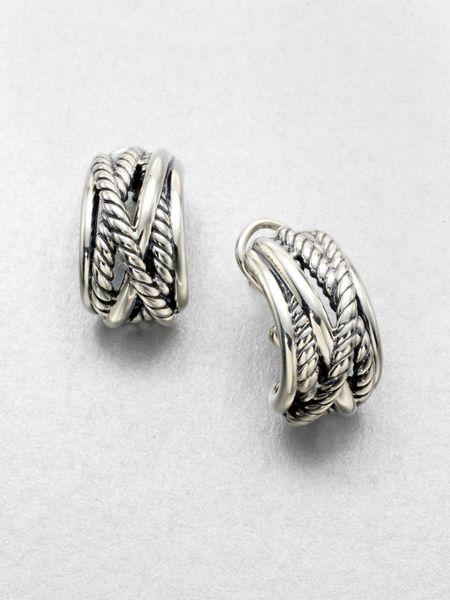 david yurman sterling silver cable wrap hoop earrings in