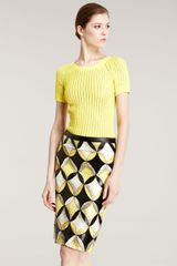 Derek Lam Patchwork Snakeskin Skirt in Yellow (multi) - Lyst