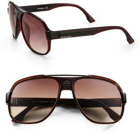 Diesel Plastic Aviator Sunglasses in Brown for Men - Lyst
