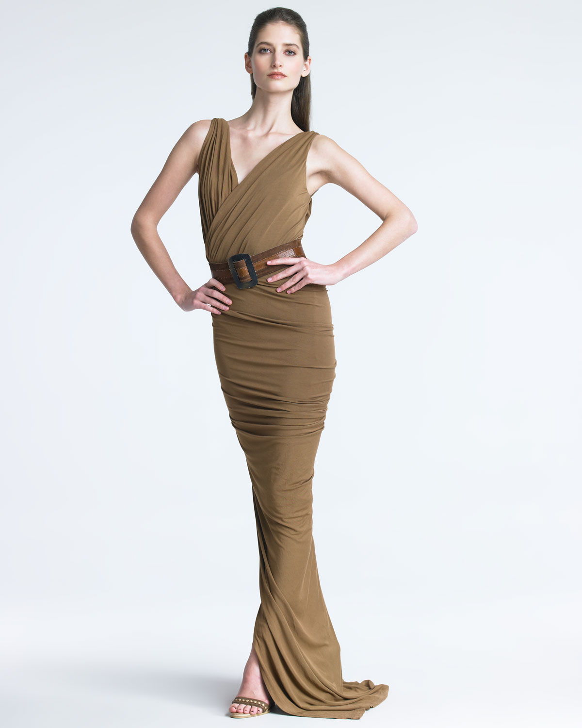 Donna karan new york surplice jersey gown in brown clay for Donna karen new york