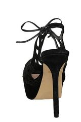 Dune Halumi D Laser Cut Suede Sandals in Black - Lyst