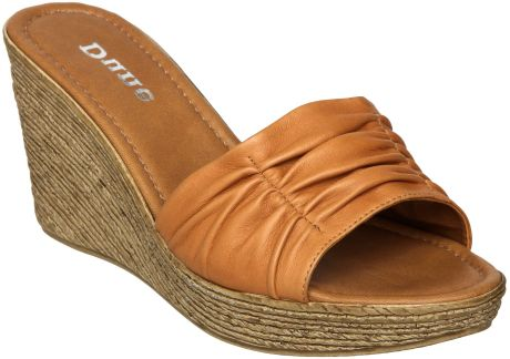 Dune Glace D Rouched Vamp Pu Wedge Sandals in Brown (tan) - Lyst