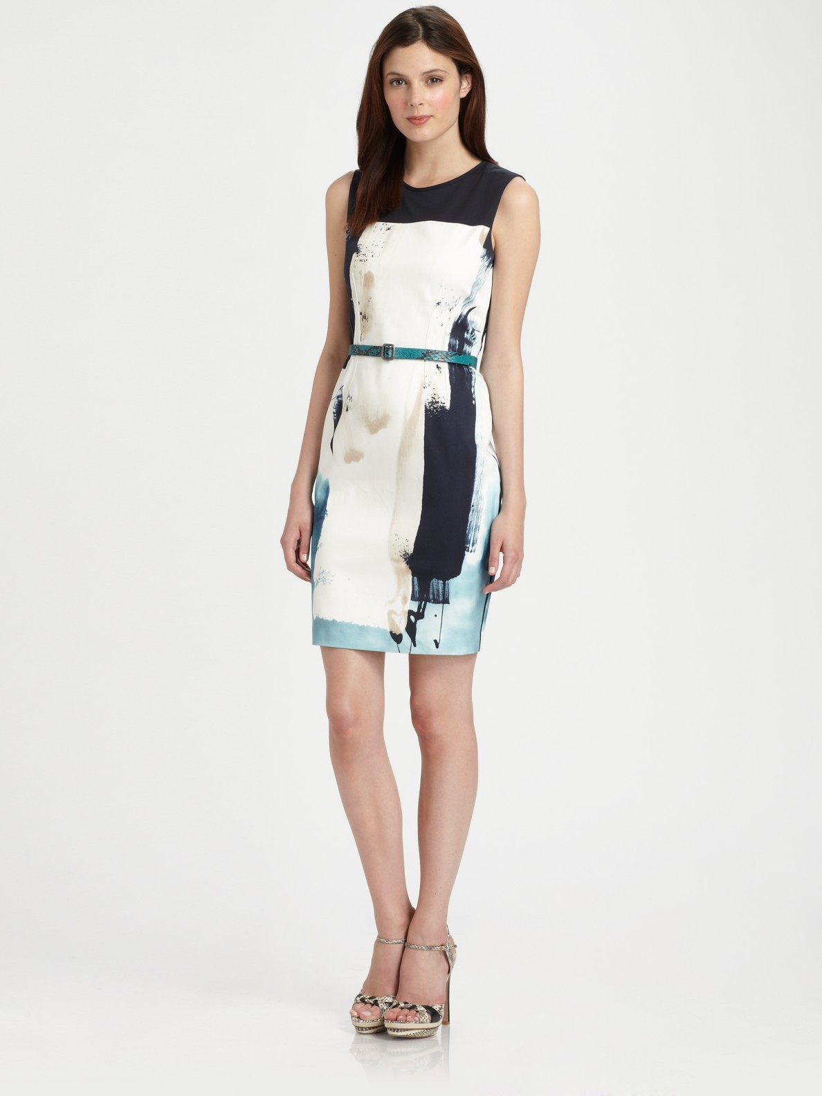 4c90efcb3257c Lyst - Elie Tahari Emory Sheath Dress in Natural