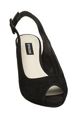 Episode Flight E Plain Slingback Sandals in Black - Lyst
