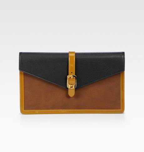 Fendi Chameleon Bustina Patent Leather Leather Clutch in Brown (black) - Lyst