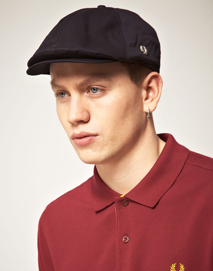 Lyst - Fred Perry Panelled Flat Cap in Blue for Men dc531d02544