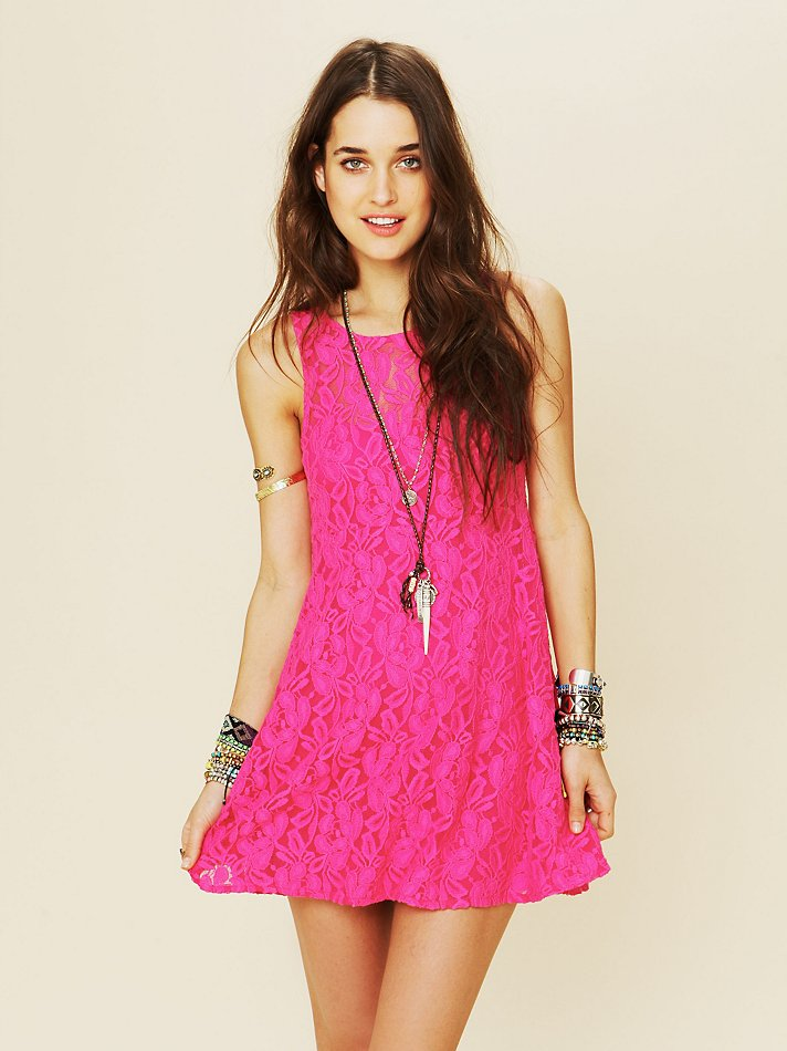 Free people Sleeveless Miles Of Lace Dress in Pink  Lyst