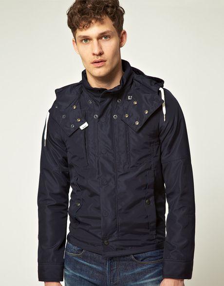 star raw gstar athlete hooded jacket in blue for men lyst. Black Bedroom Furniture Sets. Home Design Ideas