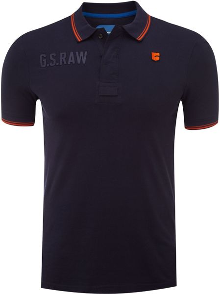 G-star Raw Logo Polo in Blue for Men (dark blue) - Lyst
